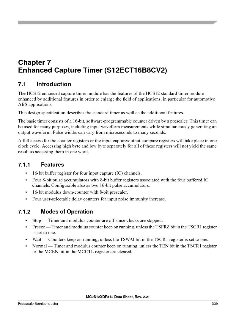 MC9S12XD128MAL ,Freescale Semiconductor厂商,MCU 16BIT 128K FLASH 112-LQFP, MC9S12XD128MAL datasheet预览  第309页