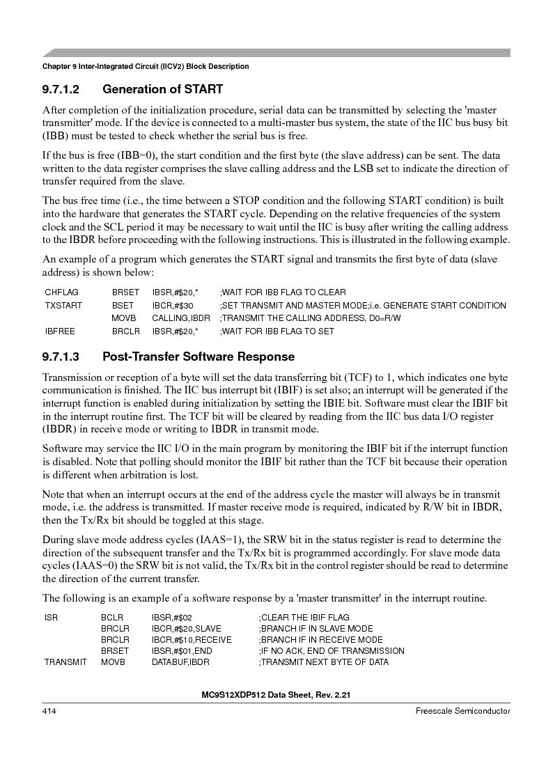 MC9S12XD128MAL ,Freescale Semiconductor厂商,MCU 16BIT 128K FLASH 112-LQFP, MC9S12XD128MAL datasheet预览  第414页