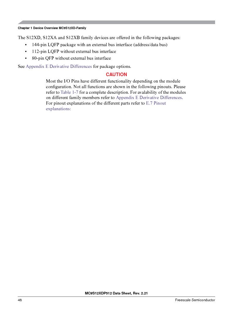 MC9S12XD128MAL ,Freescale Semiconductor厂商,MCU 16BIT 128K FLASH 112-LQFP, MC9S12XD128MAL datasheet预览  第48页