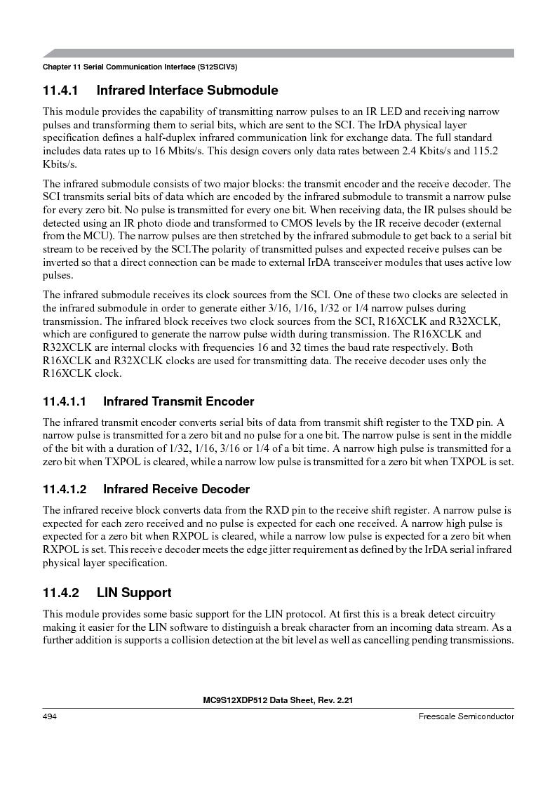MC9S12XD128MAL ,Freescale Semiconductor厂商,MCU 16BIT 128K FLASH 112-LQFP, MC9S12XD128MAL datasheet预览  第494页
