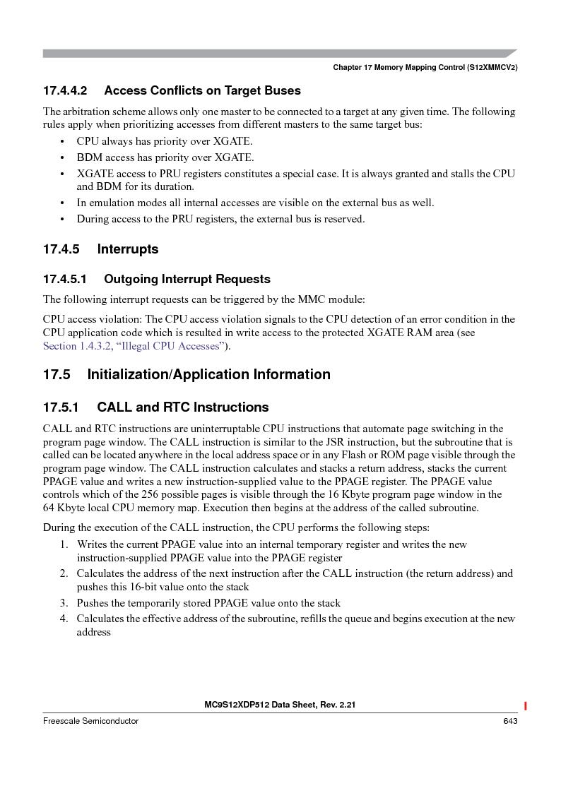 MC9S12XD128MAL ,Freescale Semiconductor厂商,MCU 16BIT 128K FLASH 112-LQFP, MC9S12XD128MAL datasheet预览  第643页