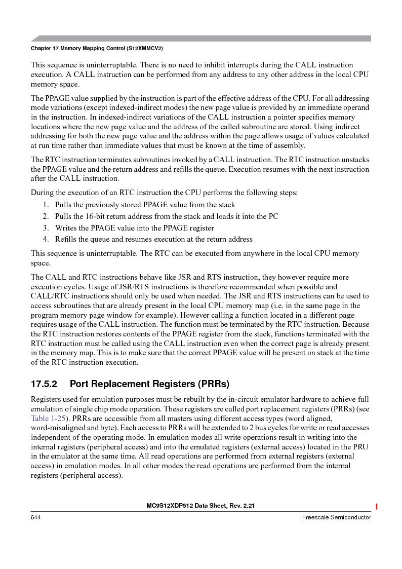 MC9S12XD128MAL ,Freescale Semiconductor厂商,MCU 16BIT 128K FLASH 112-LQFP, MC9S12XD128MAL datasheet预览  第644页