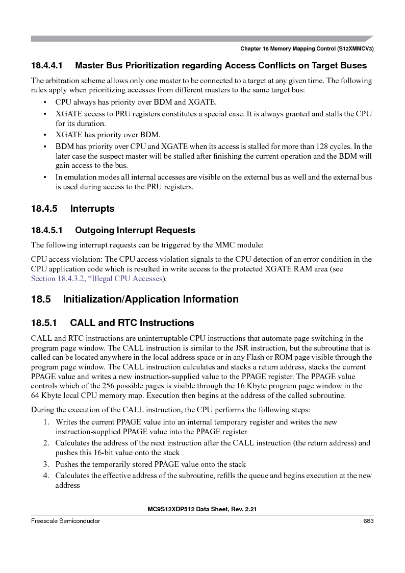 MC9S12XD128MAL ,Freescale Semiconductor厂商,MCU 16BIT 128K FLASH 112-LQFP, MC9S12XD128MAL datasheet预览  第683页