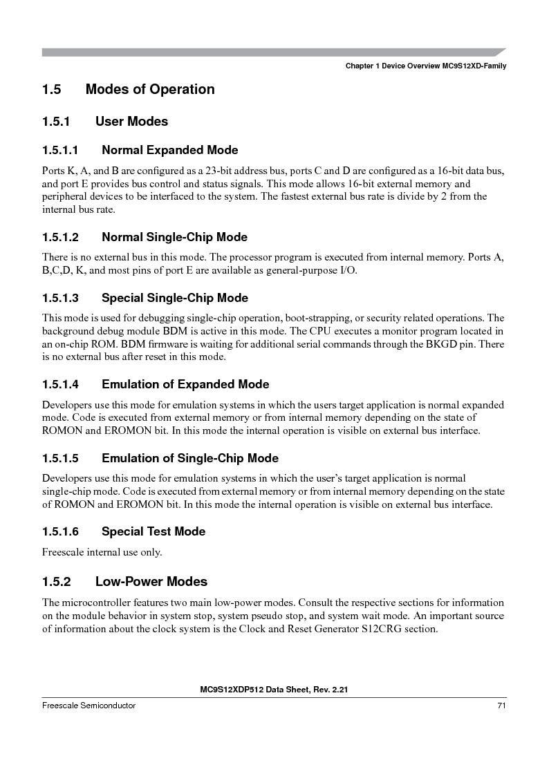 MC9S12XD128MAL ,Freescale Semiconductor厂商,MCU 16BIT 128K FLASH 112-LQFP, MC9S12XD128MAL datasheet预览  第71页