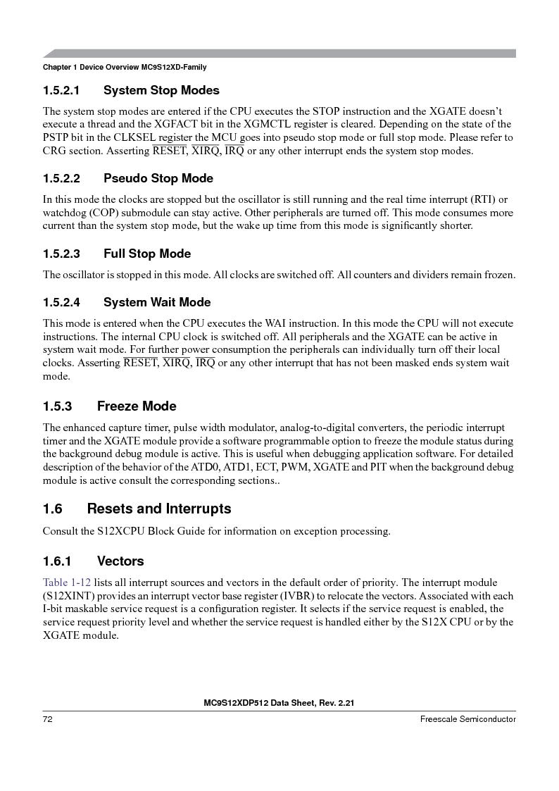 MC9S12XD128MAL ,Freescale Semiconductor厂商,MCU 16BIT 128K FLASH 112-LQFP, MC9S12XD128MAL datasheet预览  第72页