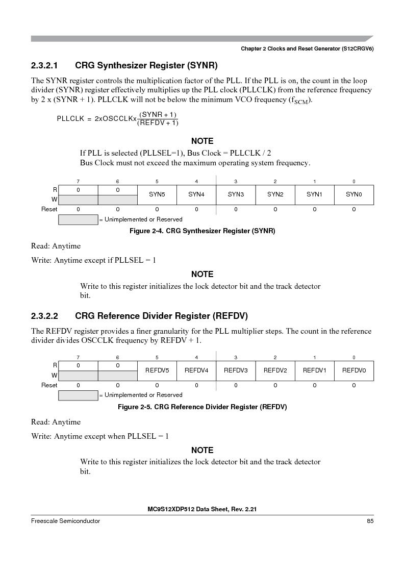 MC9S12XD128MAL ,Freescale Semiconductor厂商,MCU 16BIT 128K FLASH 112-LQFP, MC9S12XD128MAL datasheet预览  第85页