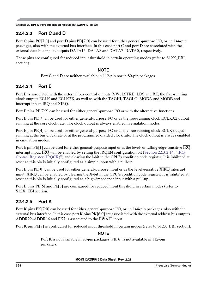 MC9S12XD128MAL ,Freescale Semiconductor厂商,MCU 16BIT 128K FLASH 112-LQFP, MC9S12XD128MAL datasheet预览  第882页