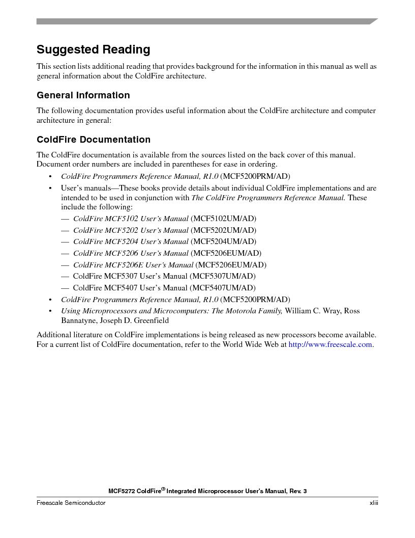 MCF5272VF66R2 ,Freescale Semiconductor厂商,IC MCU 32BIT 66MHZ 196-MAPBGA, MCF5272VF66R2 datasheet预览  第43页