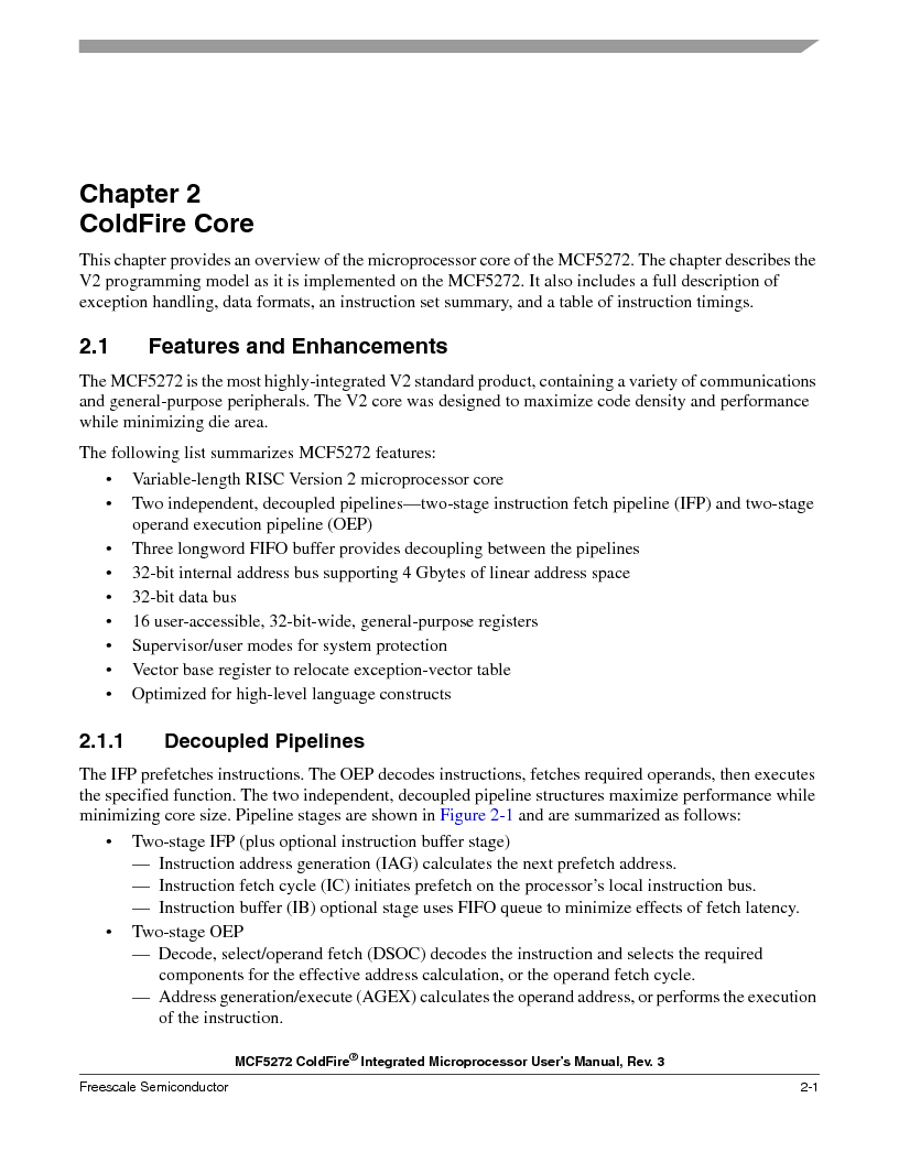MCF5272VF66R2 ,Freescale Semiconductor厂商,IC MCU 32BIT 66MHZ 196-MAPBGA, MCF5272VF66R2 datasheet预览  第69页