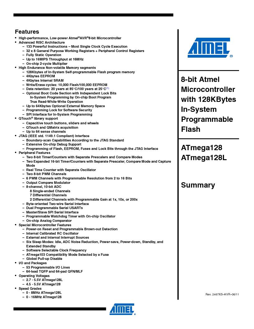 ATMEGA128-16AJ ,Atmel厂商,IC MCU AVR 128K 16MHZ 5V 64-TQFP, ATMEGA128-16AJ datasheet预览  第1页