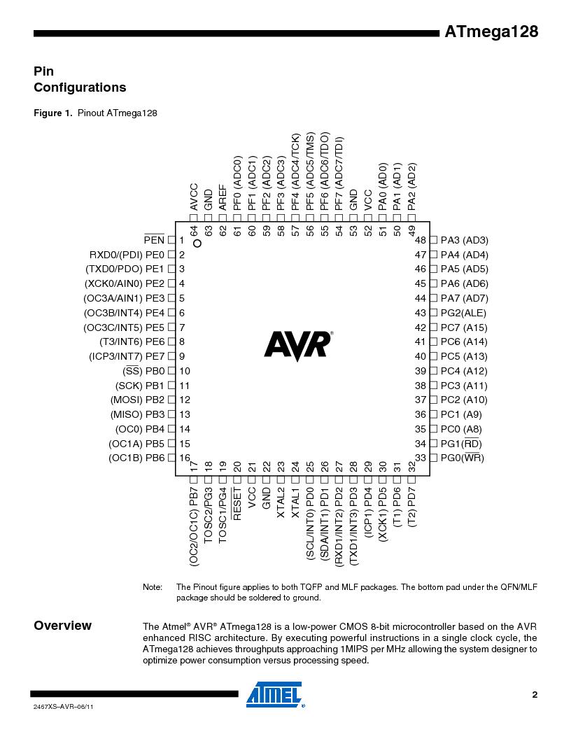 ATMEGA128-16AJ ,Atmel厂商,IC MCU AVR 128K 16MHZ 5V 64-TQFP, ATMEGA128-16AJ datasheet预览  第2页