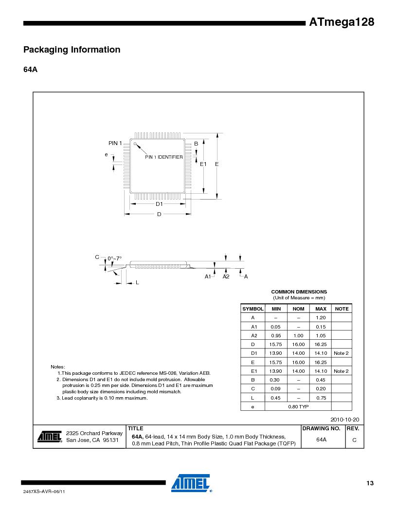 ATMEGA128-16AJ ,Atmel厂商,IC MCU AVR 128K 16MHZ 5V 64-TQFP, ATMEGA128-16AJ datasheet预览  第13页
