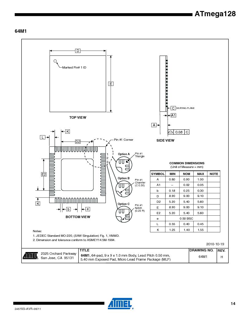 ATMEGA128-16AJ ,Atmel厂商,IC MCU AVR 128K 16MHZ 5V 64-TQFP, ATMEGA128-16AJ datasheet预览  第14页