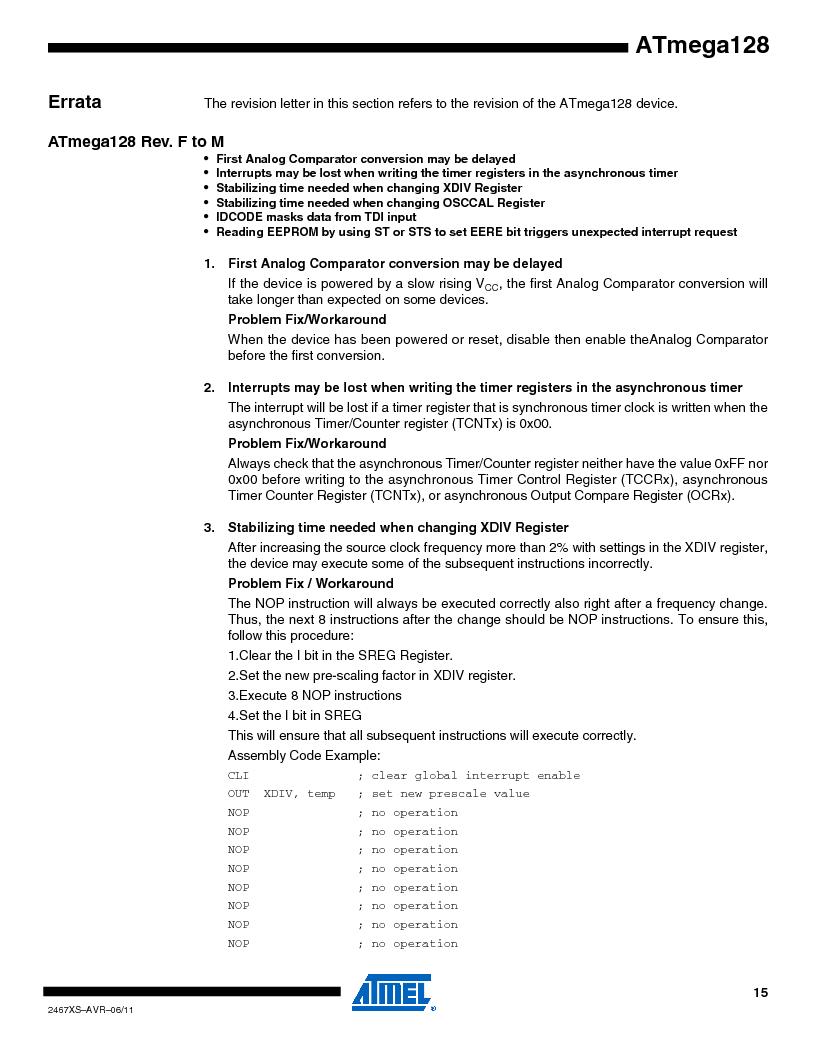 ATMEGA128-16AJ ,Atmel厂商,IC MCU AVR 128K 16MHZ 5V 64-TQFP, ATMEGA128-16AJ datasheet预览  第15页
