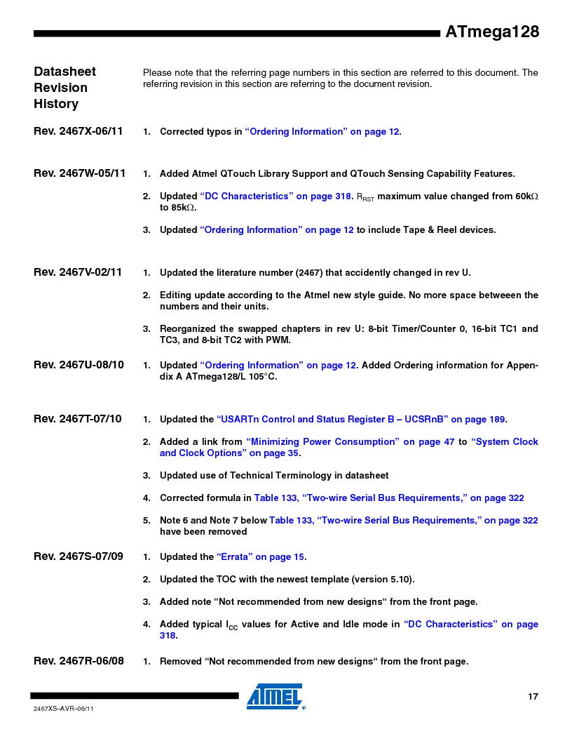 ATMEGA128-16AJ ,Atmel厂商,IC MCU AVR 128K 16MHZ 5V 64-TQFP, ATMEGA128-16AJ datasheet预览  第17页