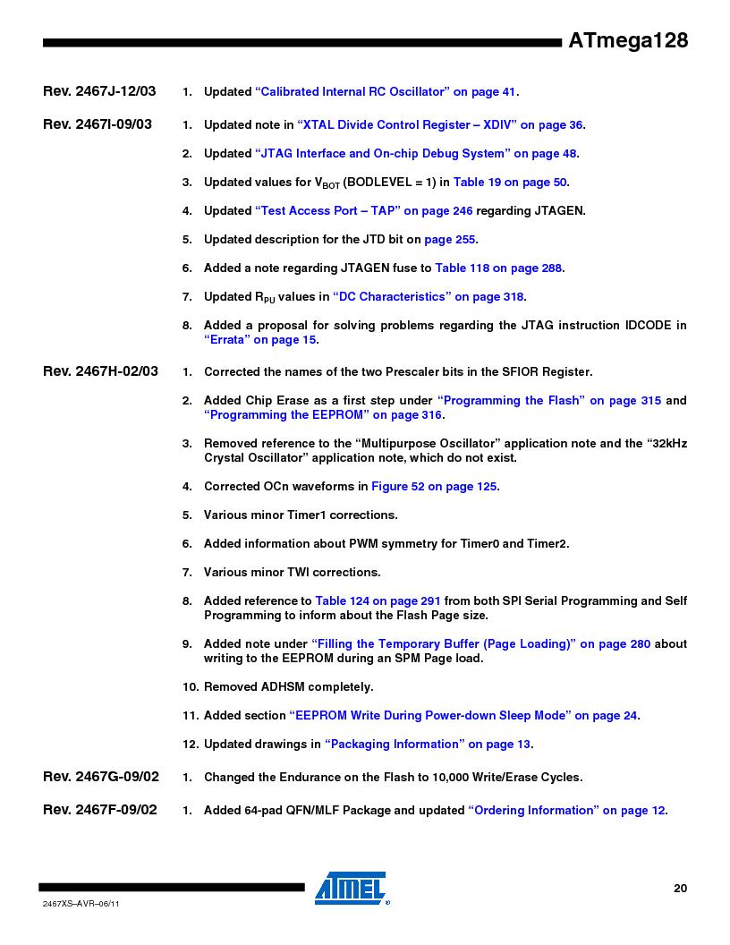 ATMEGA128-16AJ ,Atmel厂商,IC MCU AVR 128K 16MHZ 5V 64-TQFP, ATMEGA128-16AJ datasheet预览  第20页