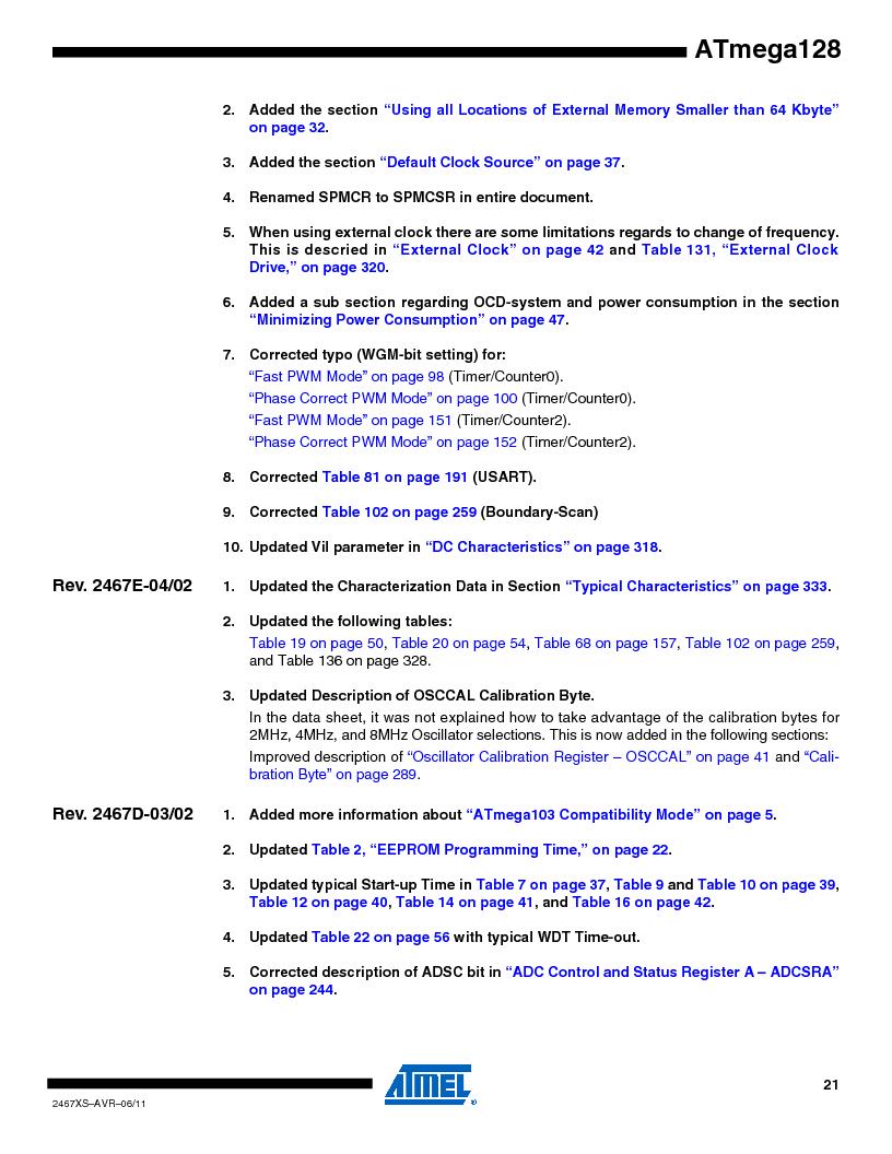 ATMEGA128-16AJ ,Atmel厂商,IC MCU AVR 128K 16MHZ 5V 64-TQFP, ATMEGA128-16AJ datasheet预览  第21页