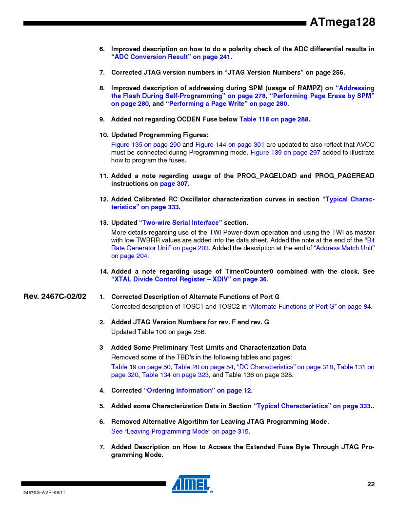 ATMEGA128-16AJ ,Atmel厂商,IC MCU AVR 128K 16MHZ 5V 64-TQFP, ATMEGA128-16AJ datasheet预览  第22页