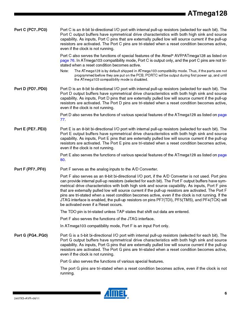 ATMEGA128-16AJ ,Atmel厂商,IC MCU AVR 128K 16MHZ 5V 64-TQFP, ATMEGA128-16AJ datasheet预览  第6页