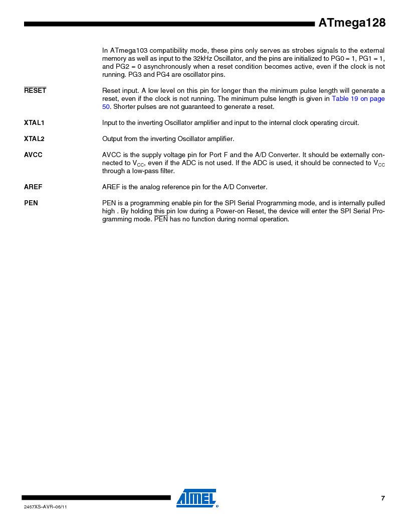 ATMEGA128-16AJ ,Atmel厂商,IC MCU AVR 128K 16MHZ 5V 64-TQFP, ATMEGA128-16AJ datasheet预览  第7页
