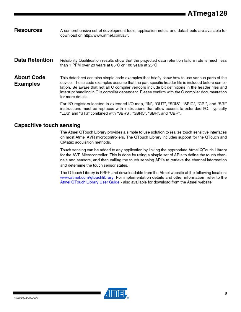 ATMEGA128-16AJ ,Atmel厂商,IC MCU AVR 128K 16MHZ 5V 64-TQFP, ATMEGA128-16AJ datasheet预览  第8页