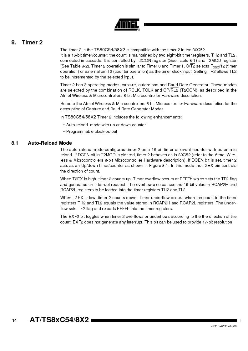 TS87C58X2-VIC ,Atmel厂商,IC MCU 8BIT 32K OTP 40MHZ 44PQFP, TS87C58X2-VIC datasheet预览  第14页
