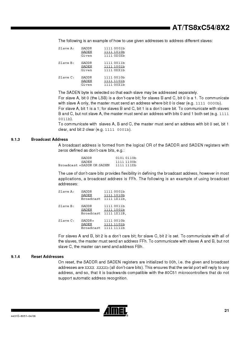 TS87C58X2-VIC ,Atmel厂商,IC MCU 8BIT 32K OTP 40MHZ 44PQFP, TS87C58X2-VIC datasheet预览  第21页