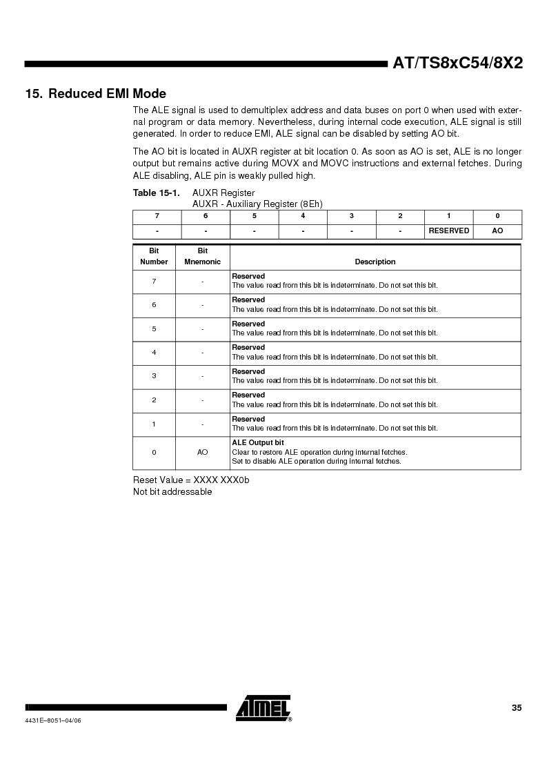TS87C58X2-VIC ,Atmel厂商,IC MCU 8BIT 32K OTP 40MHZ 44PQFP, TS87C58X2-VIC datasheet预览  第35页