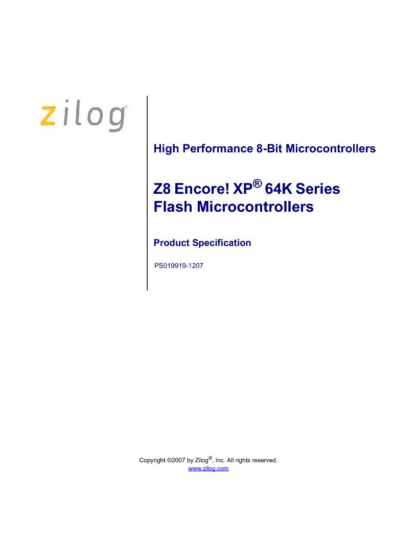 Z8F4823FT020EC ,Zilog厂商,IC ENCORE MCU FLASH 48K 80QFP, Z8F4823FT020EC datasheet预览  第1页