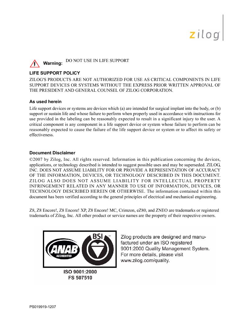 Z8F4823FT020EC ,Zilog厂商,IC ENCORE MCU FLASH 48K 80QFP, Z8F4823FT020EC datasheet预览  第2页