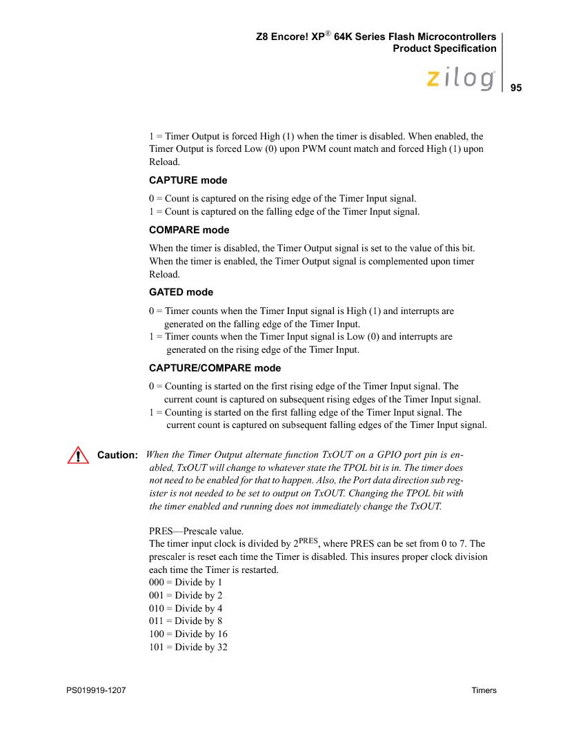 Z8F4823FT020EC ,Zilog厂商,IC ENCORE MCU FLASH 48K 80QFP, Z8F4823FT020EC datasheet预览  第109页