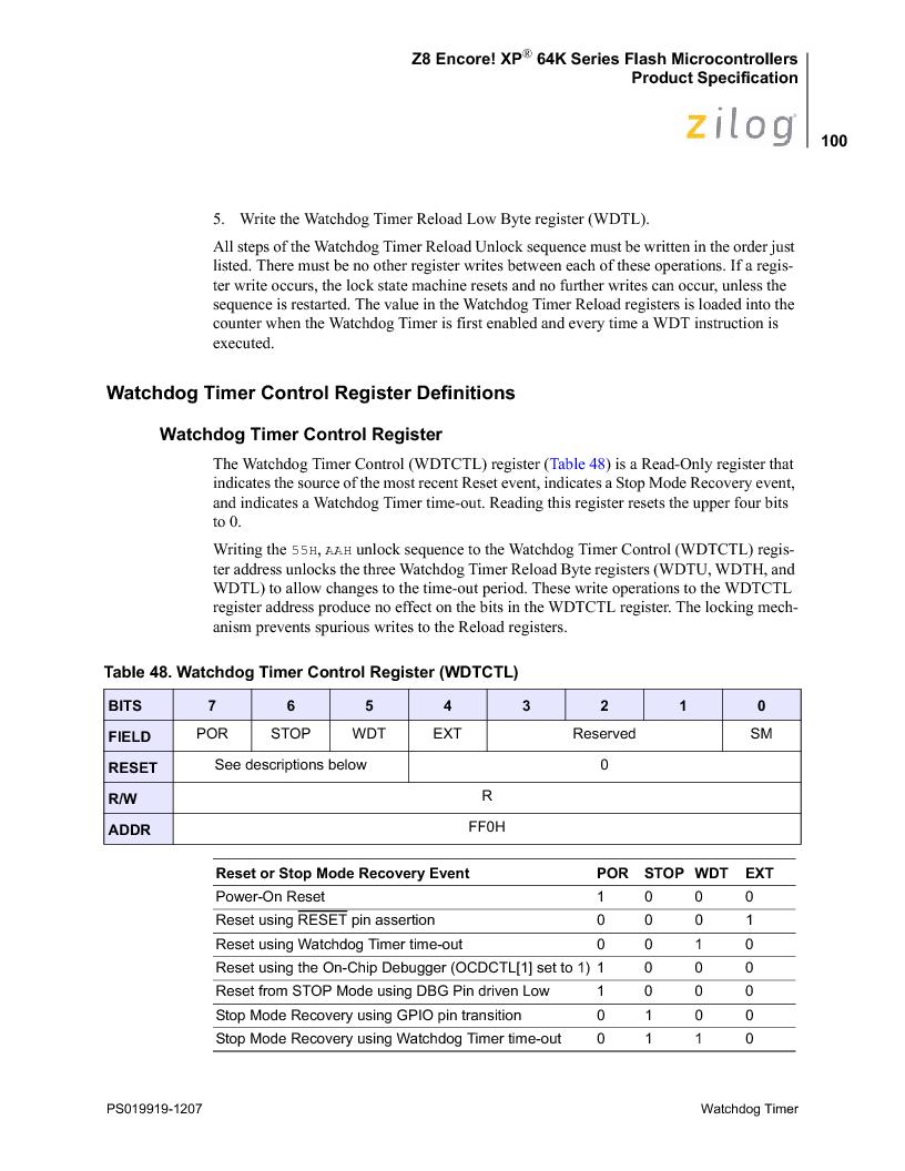 Z8F4823FT020EC ,Zilog厂商,IC ENCORE MCU FLASH 48K 80QFP, Z8F4823FT020EC datasheet预览  第114页