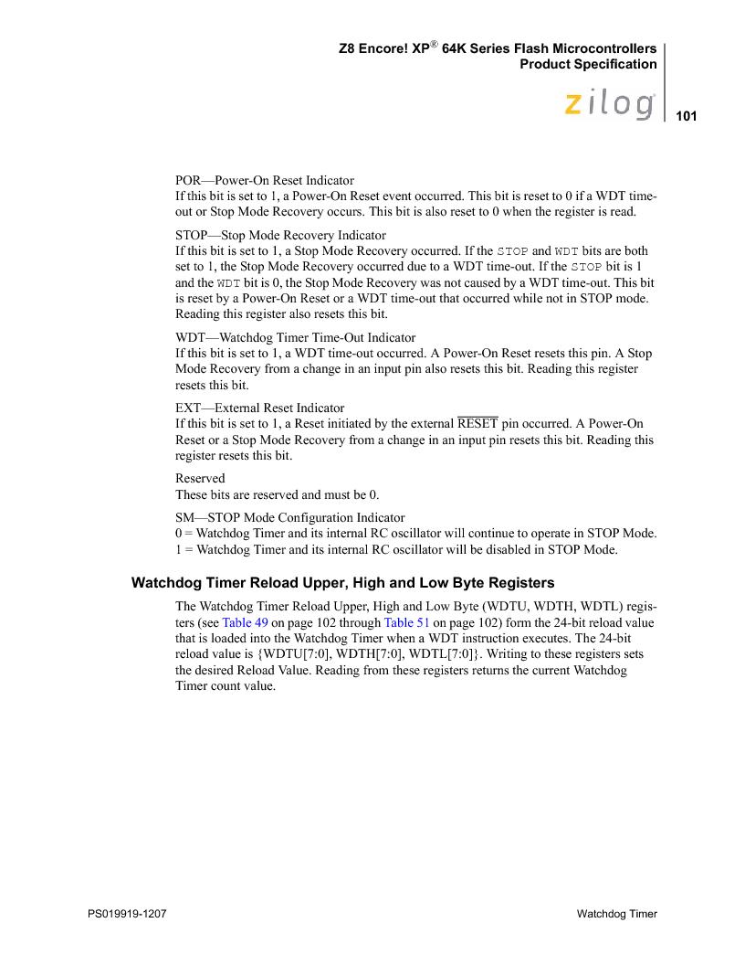 Z8F4823FT020EC ,Zilog厂商,IC ENCORE MCU FLASH 48K 80QFP, Z8F4823FT020EC datasheet预览  第115页