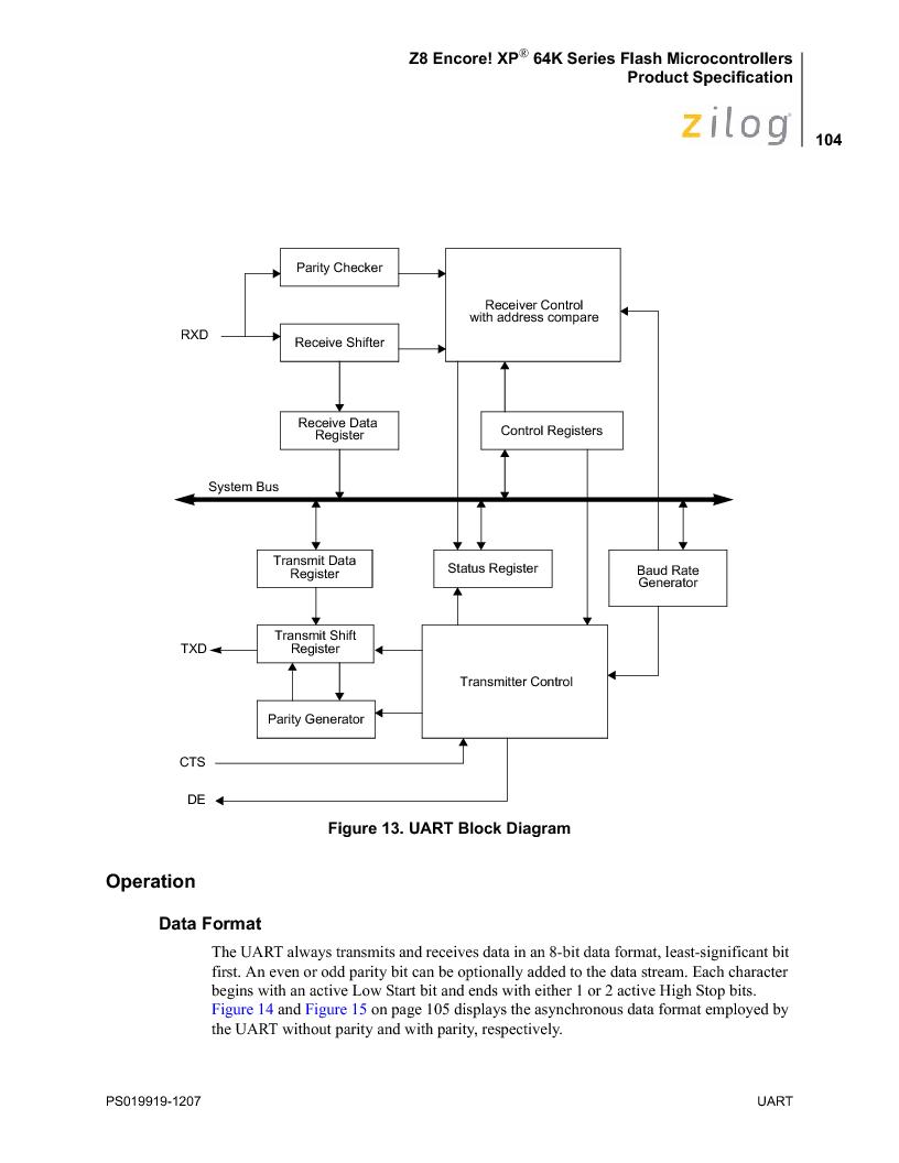 Z8F4823FT020EC ,Zilog厂商,IC ENCORE MCU FLASH 48K 80QFP, Z8F4823FT020EC datasheet预览  第118页