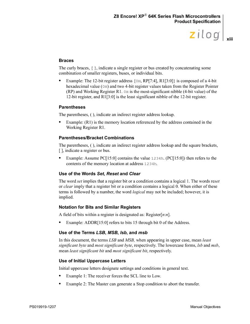 Z8F4823FT020EC ,Zilog厂商,IC ENCORE MCU FLASH 48K 80QFP, Z8F4823FT020EC datasheet预览  第13页