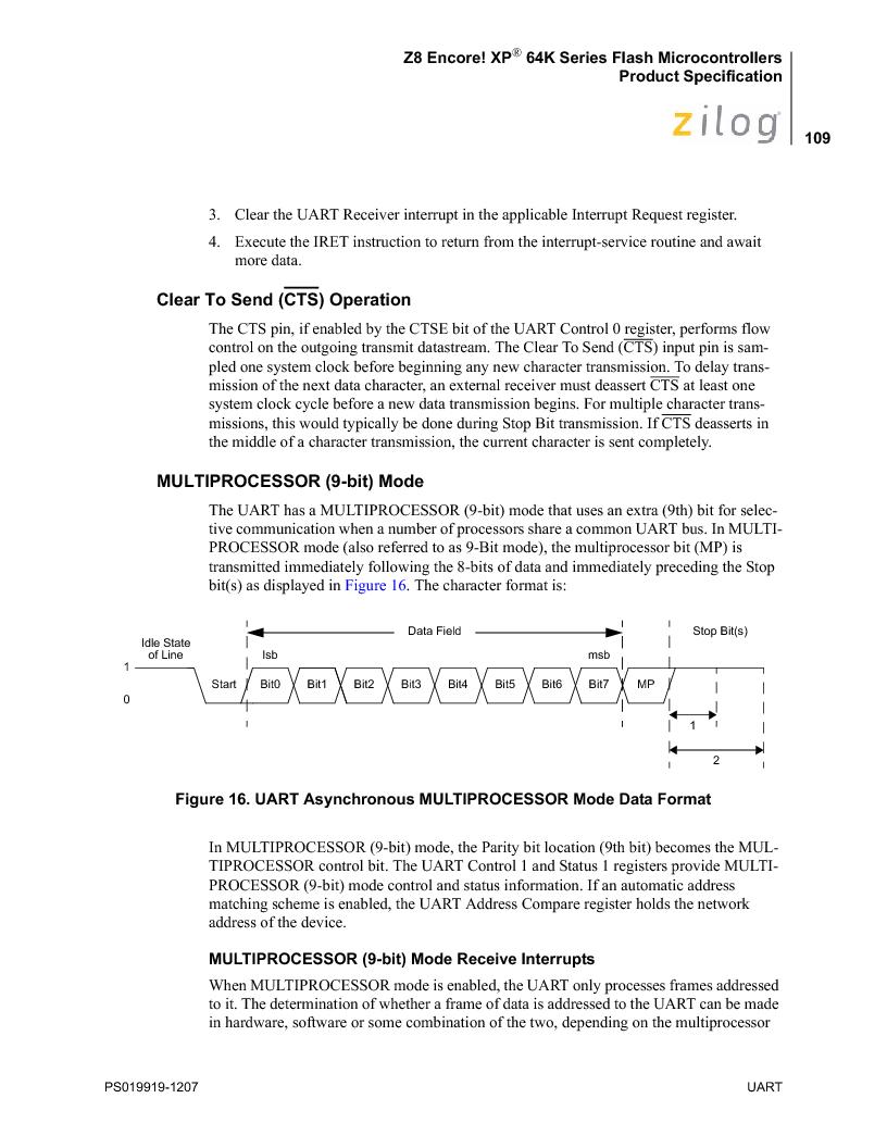 Z8F4823FT020EC ,Zilog厂商,IC ENCORE MCU FLASH 48K 80QFP, Z8F4823FT020EC datasheet预览  第123页