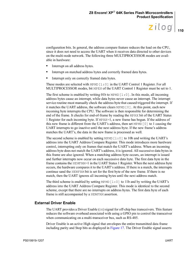Z8F4823FT020EC ,Zilog厂商,IC ENCORE MCU FLASH 48K 80QFP, Z8F4823FT020EC datasheet预览  第124页