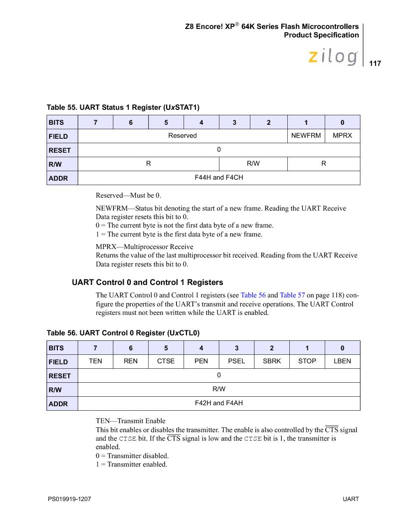 Z8F4823FT020EC ,Zilog厂商,IC ENCORE MCU FLASH 48K 80QFP, Z8F4823FT020EC datasheet预览  第131页