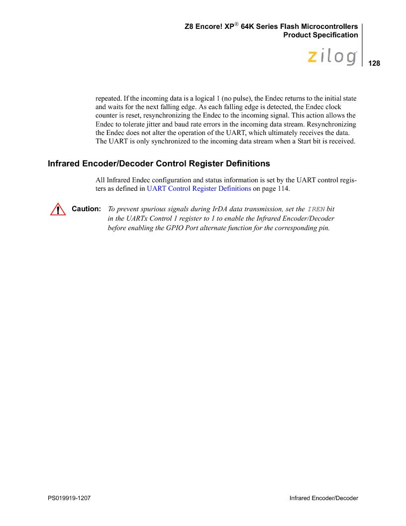 Z8F4823FT020EC ,Zilog厂商,IC ENCORE MCU FLASH 48K 80QFP, Z8F4823FT020EC datasheet预览  第142页