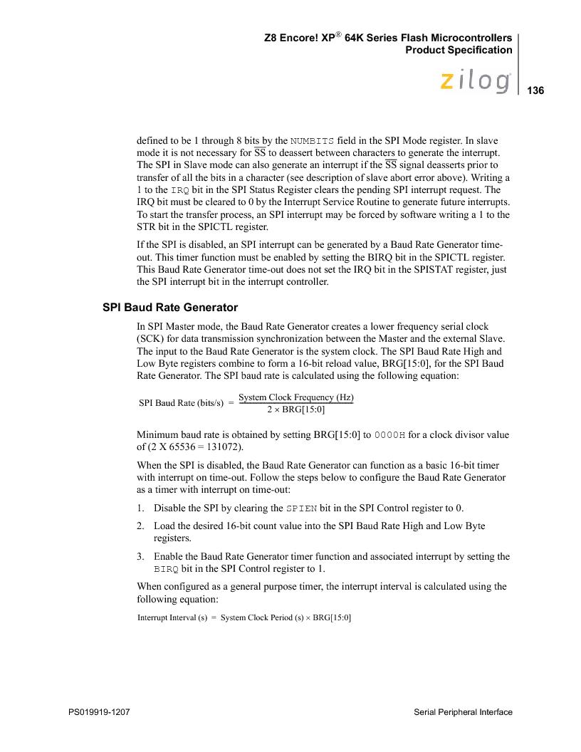 Z8F4823FT020EC ,Zilog厂商,IC ENCORE MCU FLASH 48K 80QFP, Z8F4823FT020EC datasheet预览  第150页