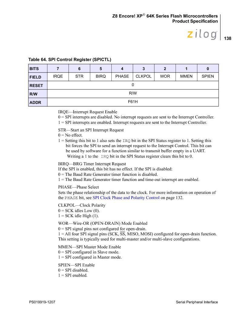 Z8F4823FT020EC ,Zilog厂商,IC ENCORE MCU FLASH 48K 80QFP, Z8F4823FT020EC datasheet预览  第152页
