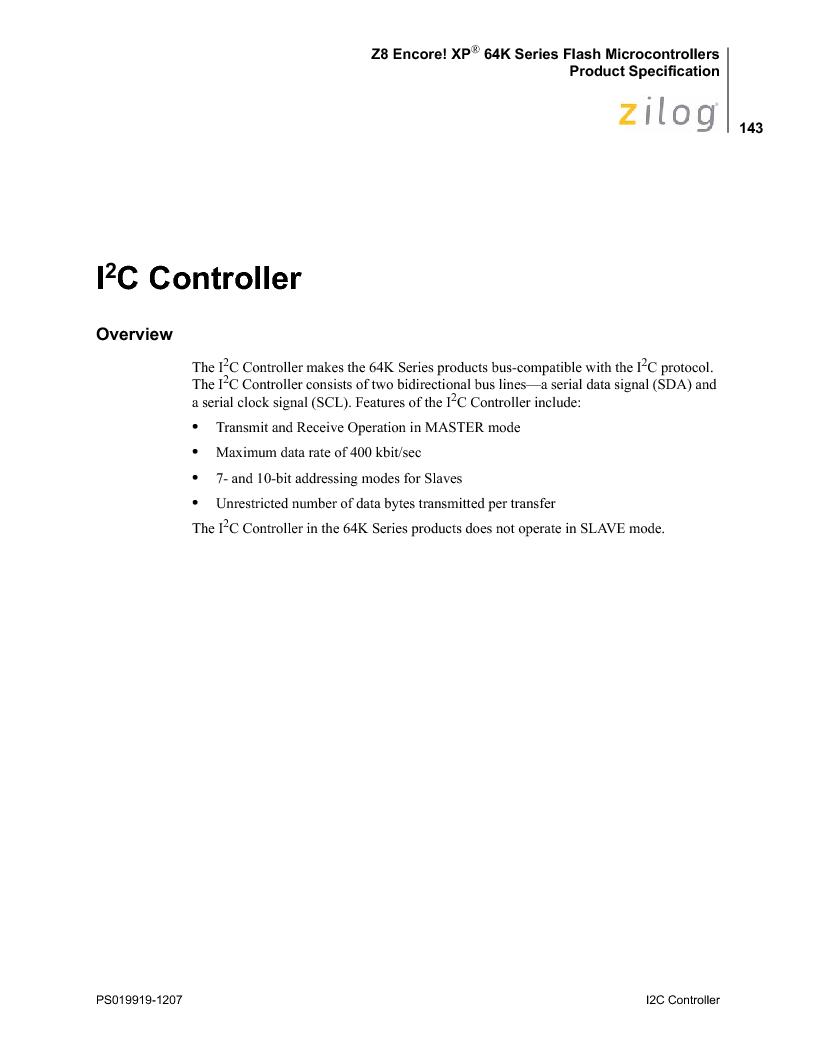 Z8F4823FT020EC ,Zilog厂商,IC ENCORE MCU FLASH 48K 80QFP, Z8F4823FT020EC datasheet预览  第157页