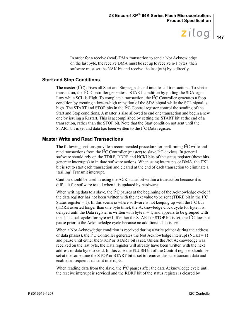 Z8F4823FT020EC ,Zilog厂商,IC ENCORE MCU FLASH 48K 80QFP, Z8F4823FT020EC datasheet预览  第161页
