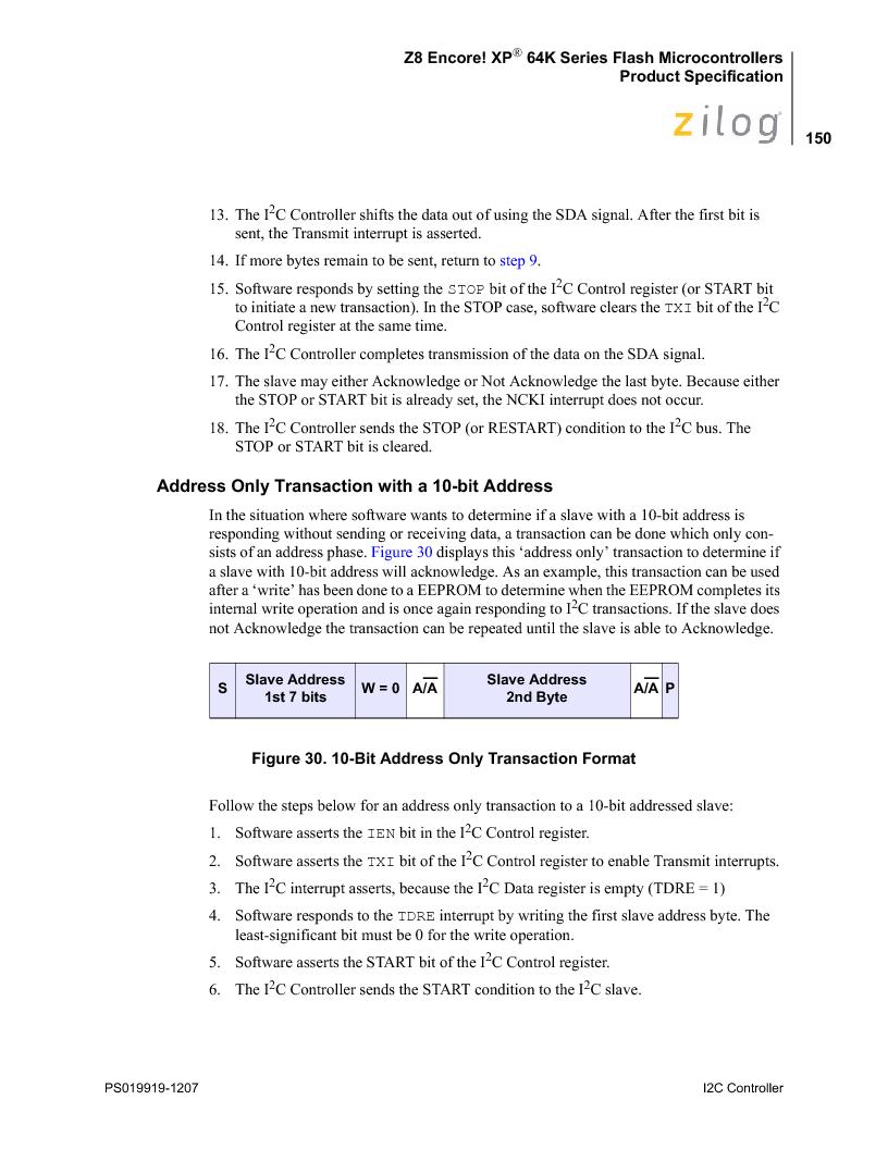 Z8F4823FT020EC ,Zilog厂商,IC ENCORE MCU FLASH 48K 80QFP, Z8F4823FT020EC datasheet预览  第164页