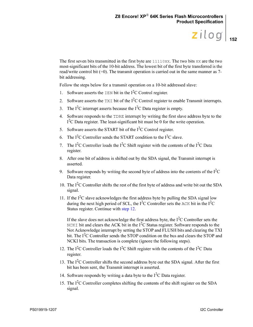 Z8F4823FT020EC ,Zilog厂商,IC ENCORE MCU FLASH 48K 80QFP, Z8F4823FT020EC datasheet预览  第166页