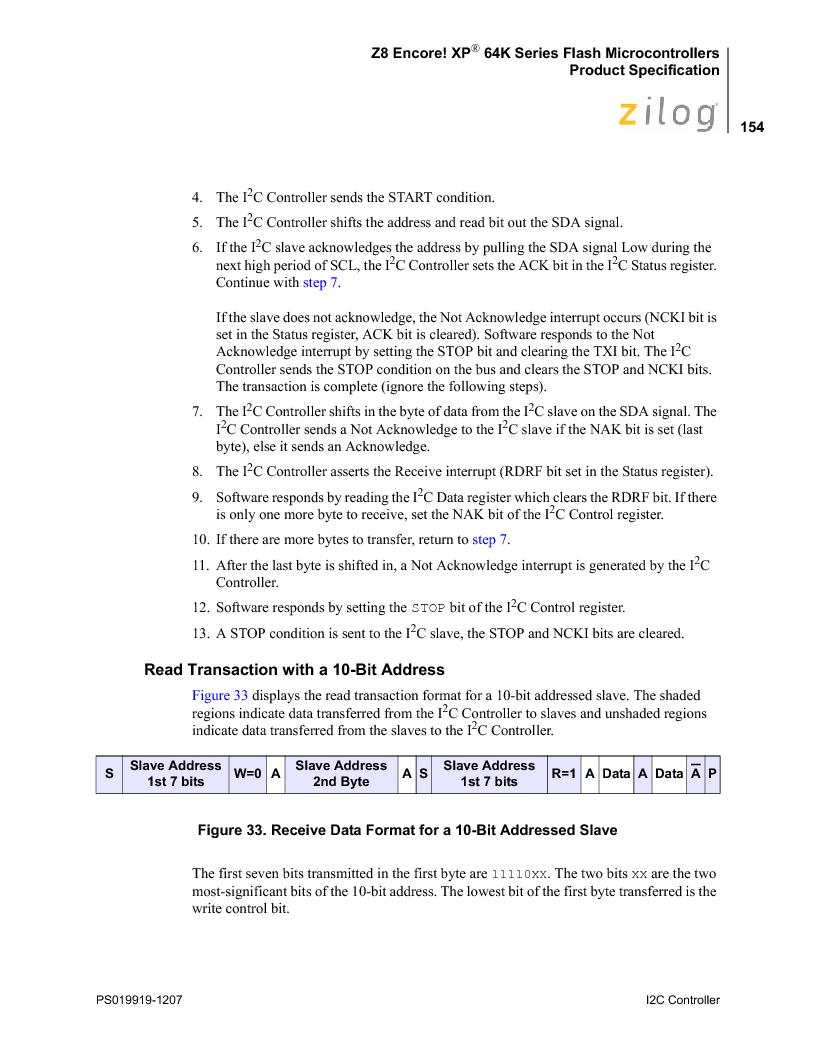 Z8F4823FT020EC ,Zilog厂商,IC ENCORE MCU FLASH 48K 80QFP, Z8F4823FT020EC datasheet预览  第168页