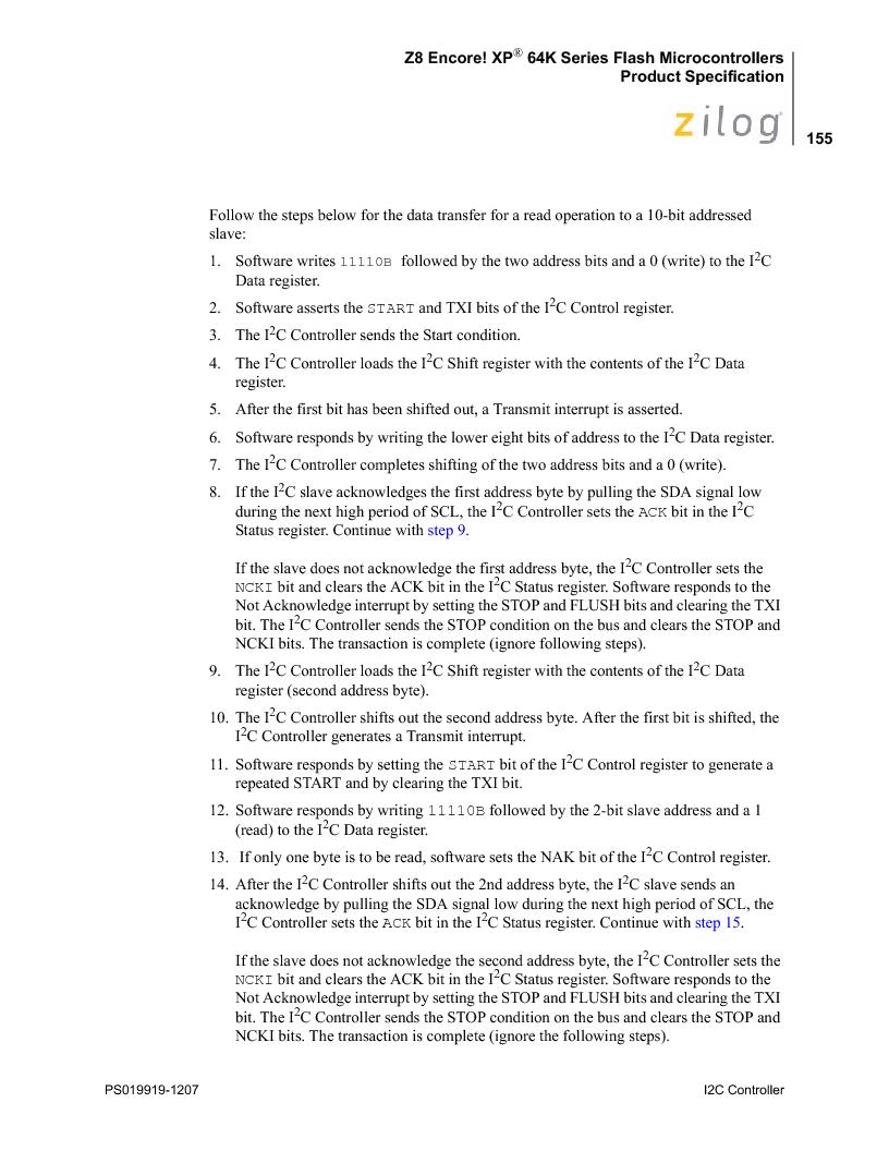 Z8F4823FT020EC ,Zilog厂商,IC ENCORE MCU FLASH 48K 80QFP, Z8F4823FT020EC datasheet预览  第169页