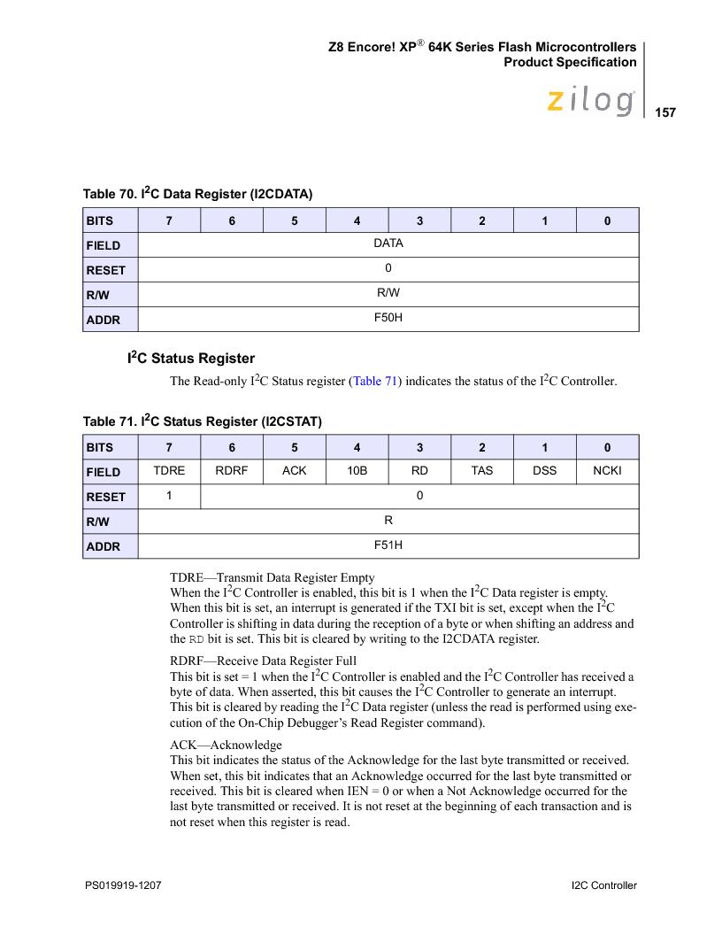 Z8F4823FT020EC ,Zilog厂商,IC ENCORE MCU FLASH 48K 80QFP, Z8F4823FT020EC datasheet预览  第171页