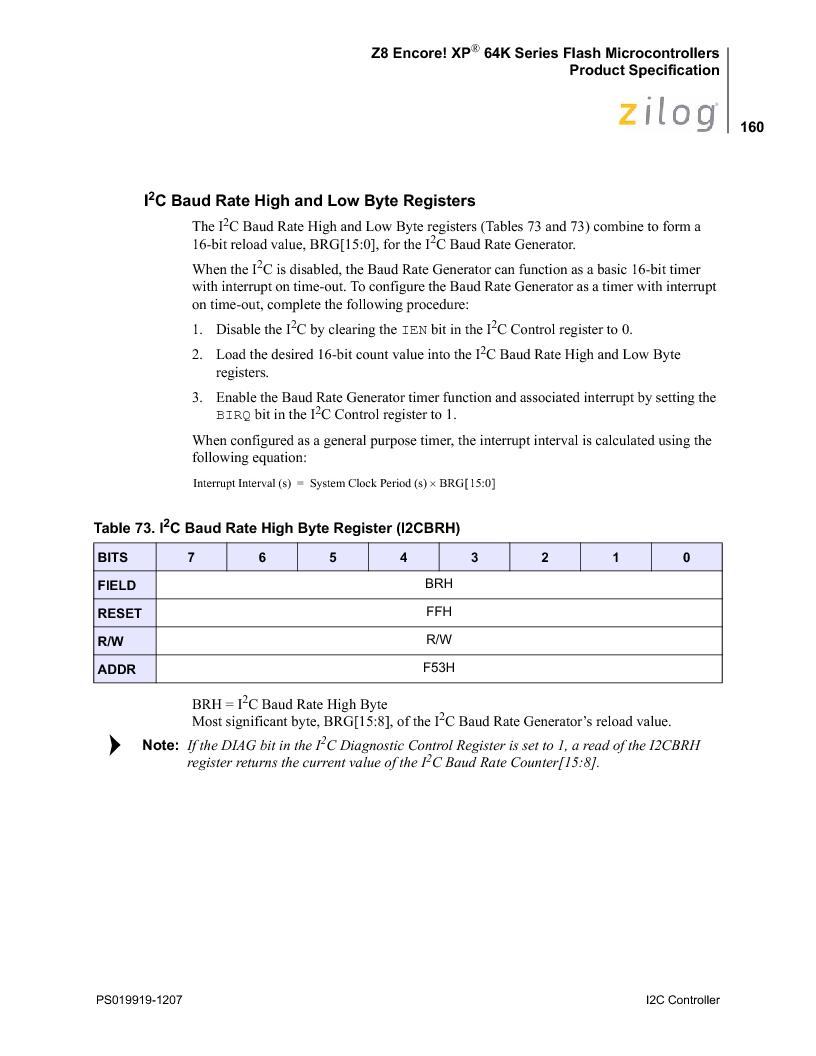 Z8F4823FT020EC ,Zilog厂商,IC ENCORE MCU FLASH 48K 80QFP, Z8F4823FT020EC datasheet预览  第174页