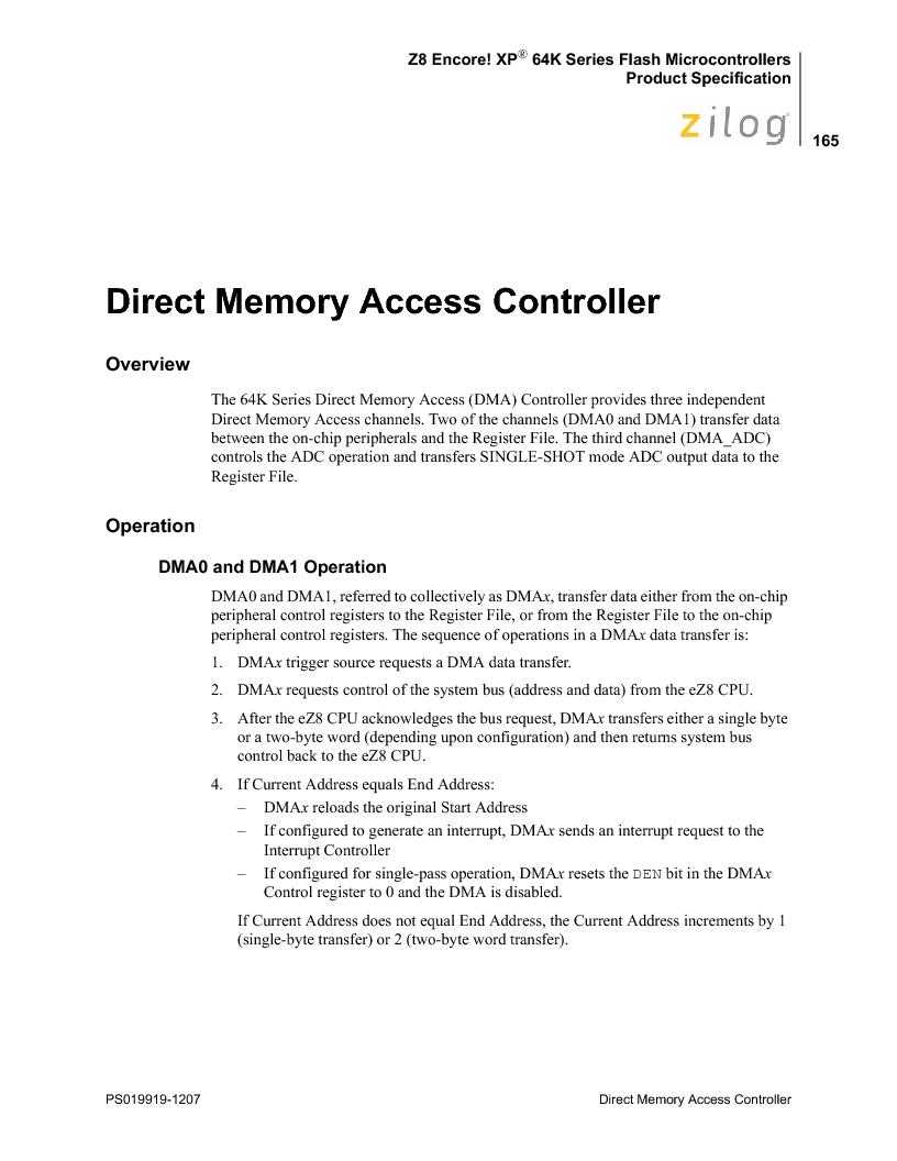 Z8F4823FT020EC ,Zilog厂商,IC ENCORE MCU FLASH 48K 80QFP, Z8F4823FT020EC datasheet预览  第179页